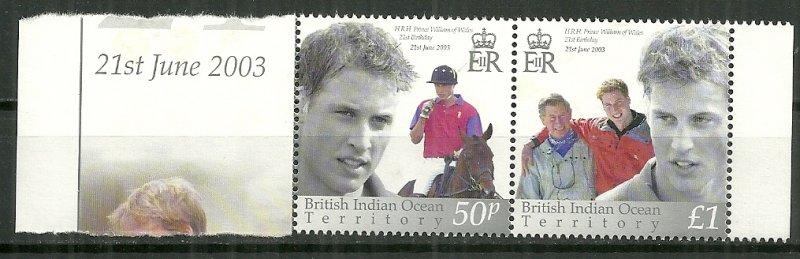 2003 British Indian Ocean Territory 265 Prince William 21st BD Horiz. Pair MNH