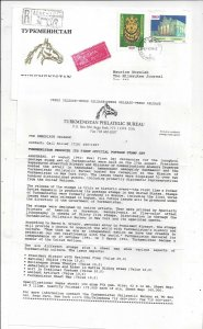 Turkmenistan 1992 Registered Cover to US, PO Announcement + First Issue MNH