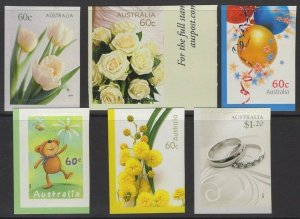 AUSTRALIA SG3459/64 2010 GREETINGS SELF ADHESIVES FROM BOOKLET PANE MNH
