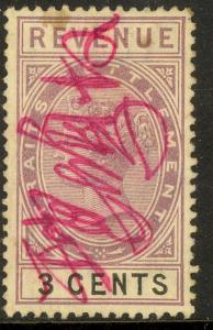 STRAITS SETTLEMENTS 1887 3c Lilac & Black QV Revenue Bft 34 VFU