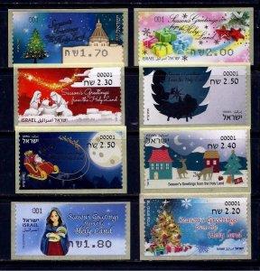 ISRAEL STAMPS VENDING MACHINE 8 ATM CHRISTMAS NOEL LABELS  2011 - 2019