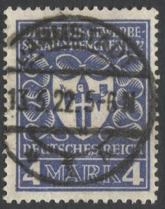 GERMANY 1922 Sc 215  4 Mk Arms of Munich, Used, F-VF, full cancel