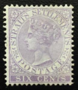 Malaya 1868 Straits Settlements QV 6c CrownCC MH SG#13 CV£150 M1912