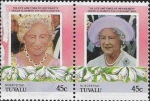 Tuvalu Nukufetau 1985 Queen Mother Setenant SC#45a-b MNH