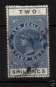 NEW ZEALAND 1882 2/- BLUE QV POSTAL CANCEL FU SG F111