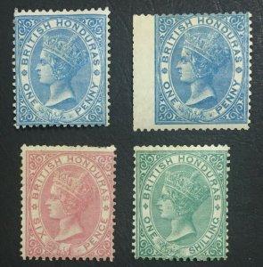 MOMEN: HONDURAS SG #1-4 1865 NO WMK MINT OG H £1,000 LOT #61229
