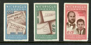 NICARAGUA 834-836 MNH SCV $0.75 BIN $0.50 POSTAL UNION