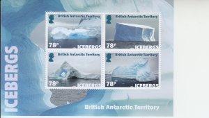 2019 British Antarctic Territory Icebergs  MS4 (Scott NA) MNH
