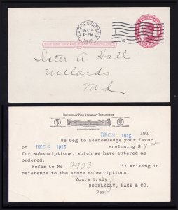 US POSTAL CARD UX24 GARDEN CITY NY CDS DOUBLEDAY SUBSCRIPTION 1915