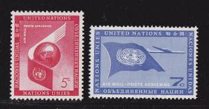U.N. New York # C6-7, Airmail, Mint NH 1/2 Cat
