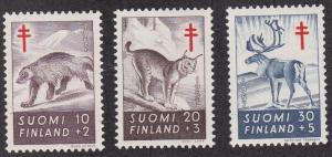 Finland # B142-144, Wolverine, Lynx & Reindeer LH, 1/3 Cat.