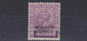 PATIALA  1939 - 40      S G   070  1A ON 1A 3P  MAUVE  MH