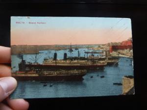 Malta Ships Grand Harbor PPC Unused (35bet)