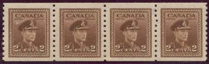Canada USC #279 Mint 2c Brown Perf. 9.5 Coil Strip of Four Fresh & VF-NH