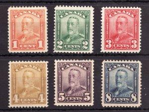 #149-154 - Canada - 1928 KGV Scroll Issue - MH - superfleas - cv$123