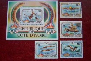Ivory Coast 1983 MNH  Sport Pre Olympic 1984 Los Angeles Sc # 76/79 + m/s