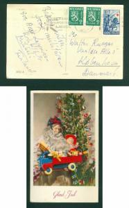 Finland. Christmas Card 1955. Santa,Toys,Flag. Stamp.2 x2 + Semi-Postal. Denmark