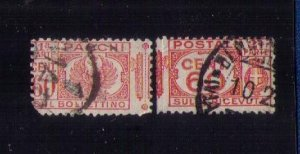ITALY Scott #Q29 Back of Book used Complete Pair Seperated Center F-VF