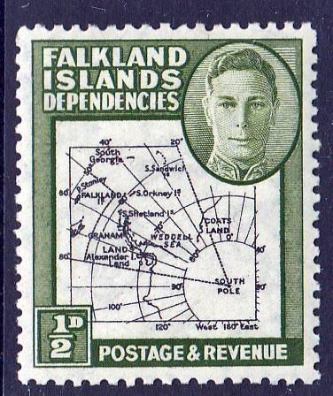 Falkland Islands Dependencies KGVI 1946 0.5d Green Gap In 80th SGG1A Mint Hinged