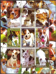 Kyrgyzstan 2004 Rotary Dogs Jack Russell Terrier Sheet of 9 MNH Cinderella !