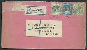 BR HONDURAS 1915 Registered cover Belize to London - mixed franking.......38489
