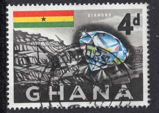 Ghana   #54   1959   used  4d. diamond and mine
