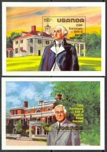 UGANDA 1982 GEORGE WASHINGTON & FRANKLIN D ROOSEVELT Souvenir Sheets Sc 358-359
