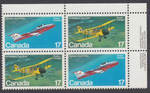 Canada - #904a Canadian Aircraft Plate Block - MNH