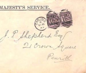 FF182 1893 GB CUMBERLAND Carlisle *I.R OFFICIAL*Overprint Penny Lilac Pair Cover