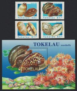 Tokelau Sea Shells 4v+MS SG#250-MS254