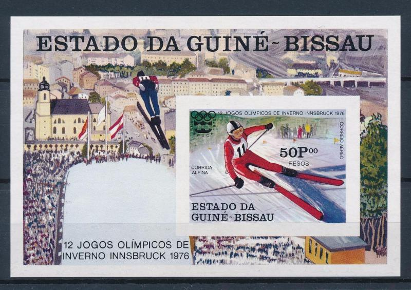 [56239] Guinea Bissau 1976 Olympic games Skiing Imperforated MNH Sheet