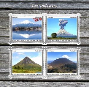 TOGO - 2021 - Volcanoes - Perf 4v Sheet - Mint Never Hinged