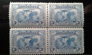Australia #112 block 2 MNH 2 mint hinged e191.3022