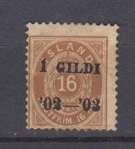 J29749, 1902-3 iceland mh #55 ovpt