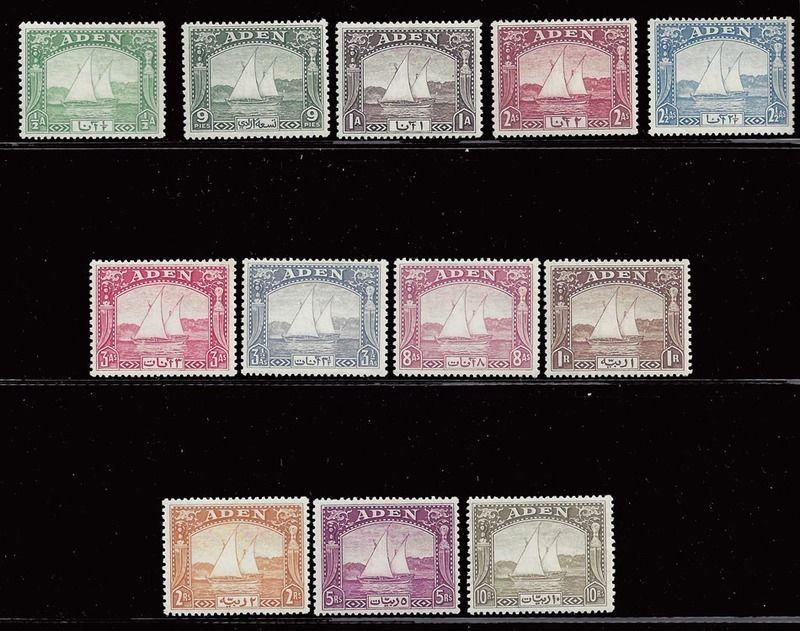 Aden stamps 1937 Dhows 1/2a – 10r set (SG1-12) MVLH £1200 / $1600