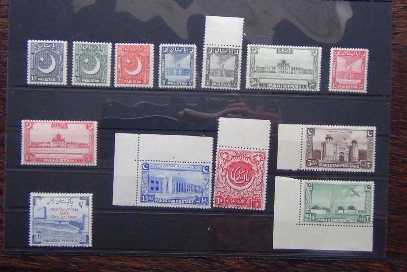 Pakistan 1949 - 53 set to 12a MM 1948 Independence set 1959 Revolution Day MM