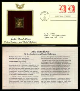 United States 1987 PCS FDC w/ 22 kt gold replica Scott# 2176