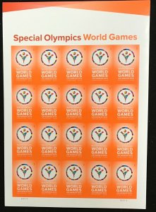 4986   Special Olympics World Games  MNH Forever sheet of 20    FV $11.00   2015