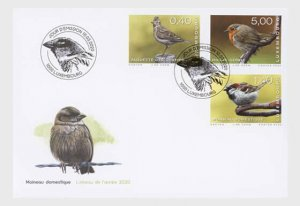 2020  LUXEMBOURG - SKYLARK, HOUSE SPARROW & ROBIN -  FIRST DAY COVER