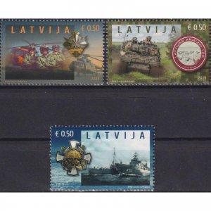 Latvia 2019 The 100th Anniversary of the Latvian Army  (MNH)  - Ships, Army, Tan