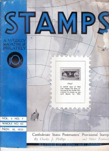 Stamps Weekly Magazine of Philately November 18, 1933 Stamp Collecting Magazine