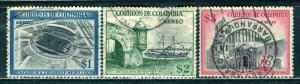 Colombia; 1954: Sc. # C249-C251: O/Used Cpl. Set