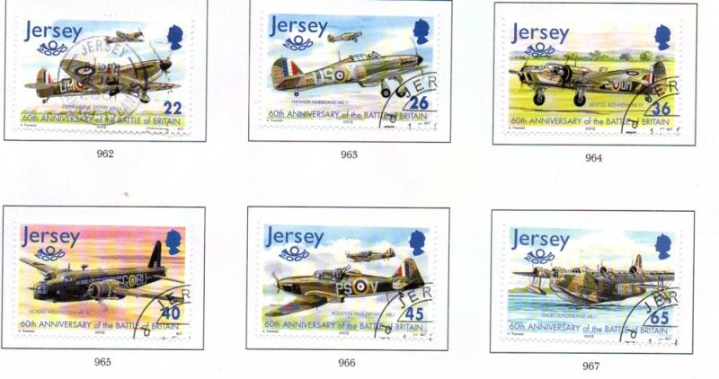 Jersey  Sc 964-6 2000 Battle of Britain stamp set used