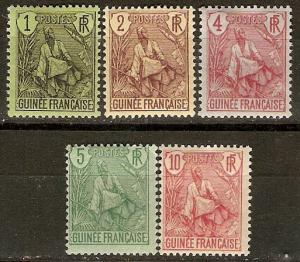 French Guinea 18-22 Y&T 18-22 MHR F/VF 1904 SCV $8.85