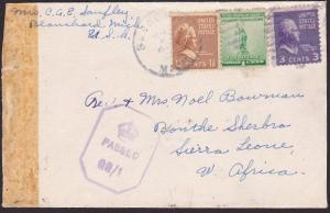 USA TO SIERRA LEONE 1943 censor cover to Bonthe, local QQ/1 censor.........67612