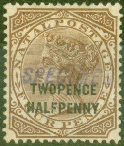 Natal 1891 2 1/2d on 4d Brown Specimen SG109s V.F Mtd Mint
