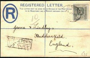 SIERRA LEONE KGV Cover Freetown Registered Plymouth GB Huddersfield 1923 PB223