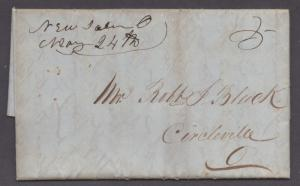 **US Stampless Cover, New Salem, OH 5/24/1847 M/S Cancel, F/L Contents