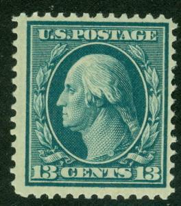 US #339 13¢ blue green, og, NH, F/VF, Scott $90.00
