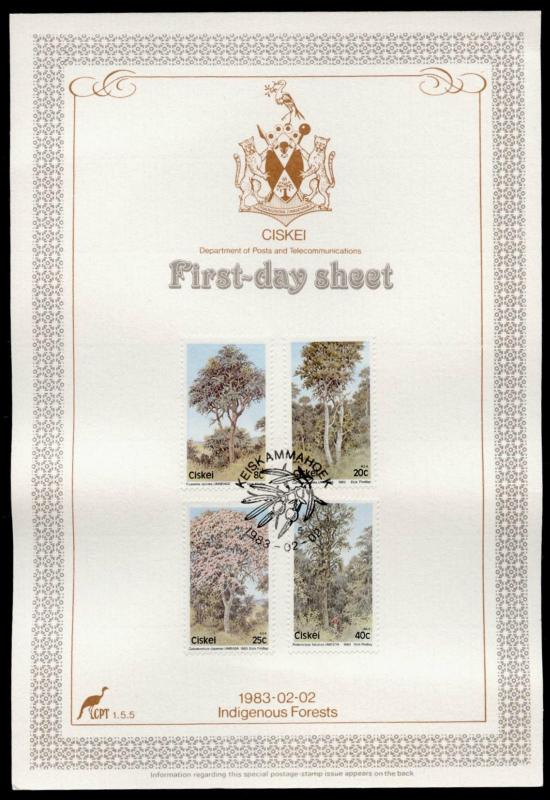 Ciskei 46-9 on First Day Sheet - used-  Indigenous Forests, Trees